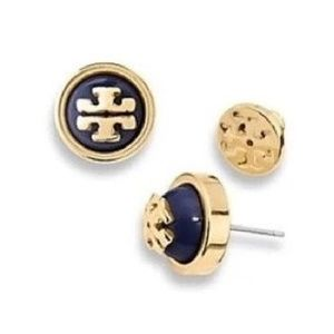 Tory Burch Black Melodie Dome Pearl Logo Earrings